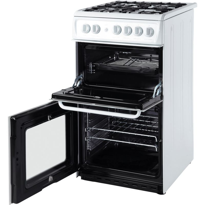 Hotpoint-Double-Cooker-HAG51P-White-A--Enamelled-Sheetmetal-Perspective_Open