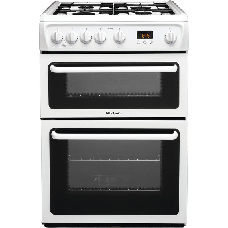 Hotpoint-Double-Cooker-HAG60P-White-A--Enamelled-Sheetmetal-Frontal