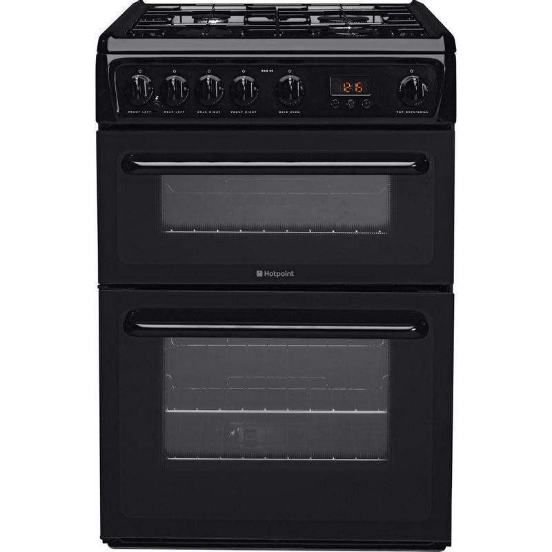 Hotpoint-Double-Cooker-HAG60K-Black-A--Enamelled-Sheetmetal-Frontal