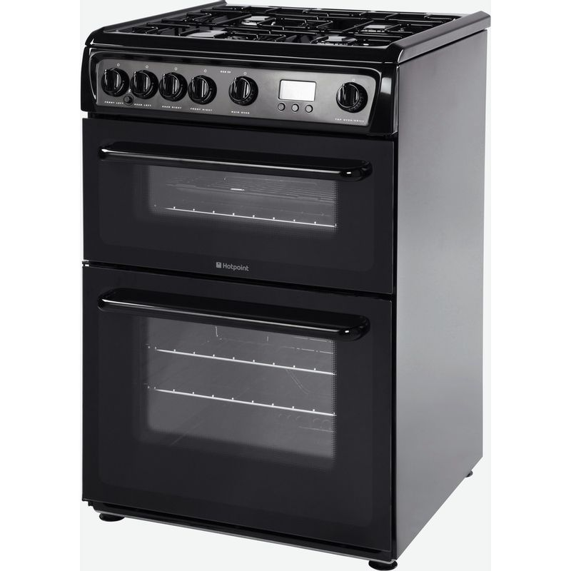 Hotpoint-Double-Cooker-HAG60K-Black-A--Enamelled-Sheetmetal-Perspective