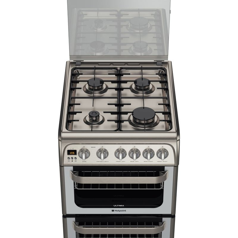 Hotpoint-Double-Cooker-HUG52X-Inox-A--Stainless-steel-Frontal_Top_Down