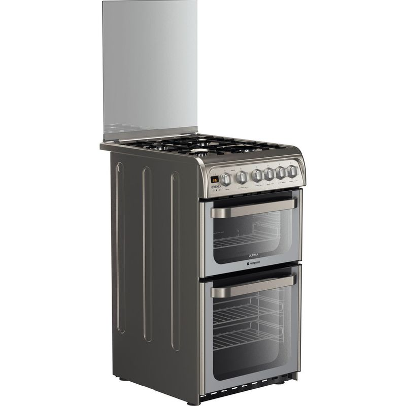 Hotpoint-Double-Cooker-HUG52X-Inox-A--Stainless-steel-Perspective