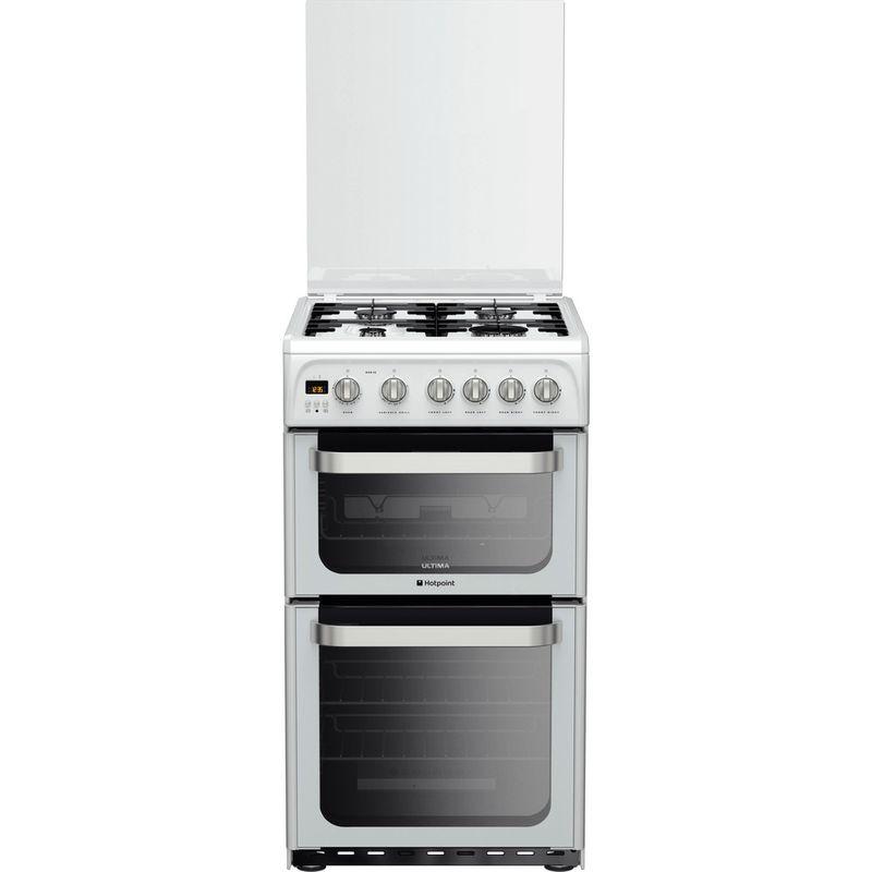 Hotpoint-Double-Cooker-HUG52P-White-A--Enamelled-Sheetmetal-Frontal
