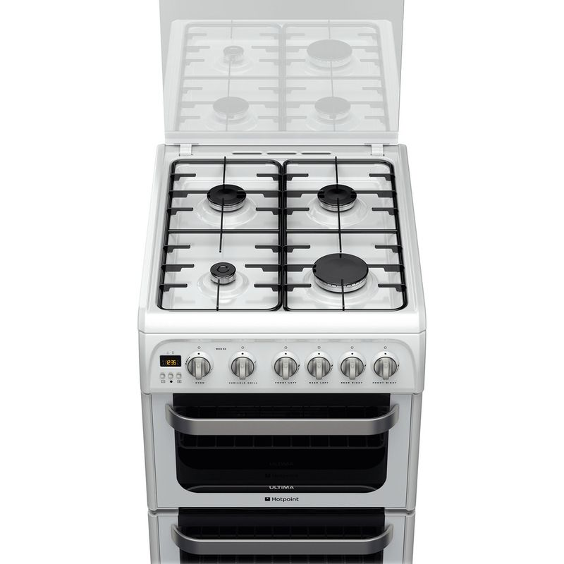 Hotpoint-Double-Cooker-HUG52P-White-A--Enamelled-Sheetmetal-Frontal-top-down