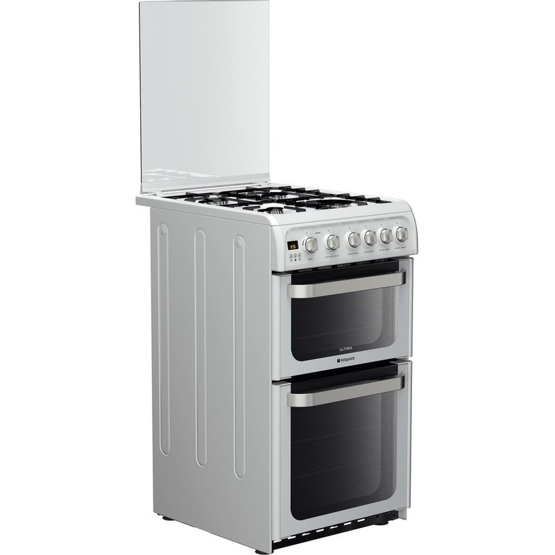 Hotpoint-Double-Cooker-HUG52P-White-A--Enamelled-Sheetmetal-Perspective