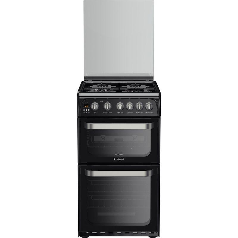 Hotpoint-Double-Cooker-HUG52K-Black-A--Enamelled-Sheetmetal-Frontal
