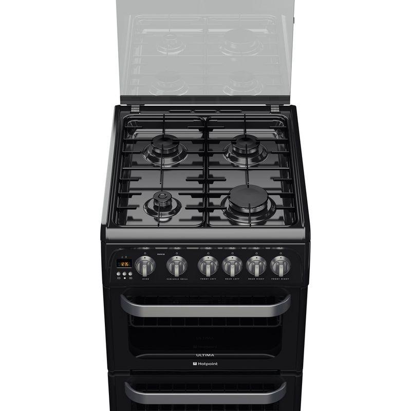 Hotpoint-Double-Cooker-HUG52K-Black-A--Enamelled-Sheetmetal-Frontal_Top_Down