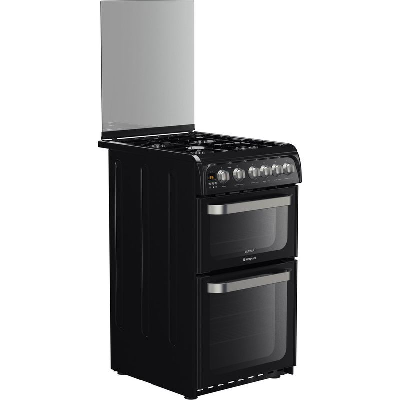 Hotpoint-Double-Cooker-HUG52K-Black-A--Enamelled-Sheetmetal-Perspective