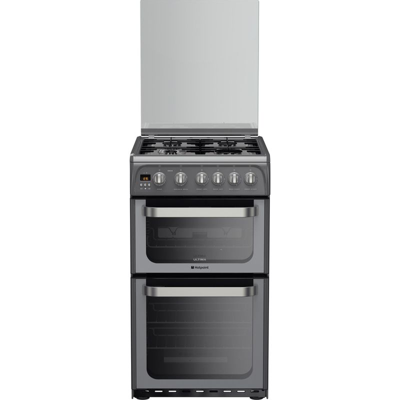 Hotpoint-Double-Cooker-HUG52G-Graphite-A--Enamelled-Sheetmetal-Frontal