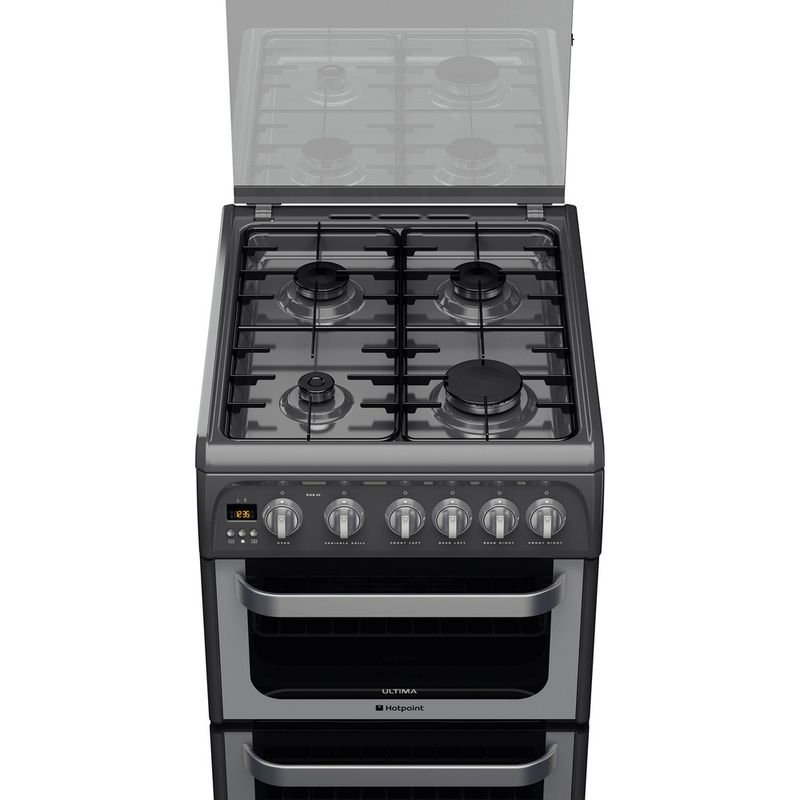Hotpoint-Double-Cooker-HUG52G-Graphite-A--Enamelled-Sheetmetal-Frontal-top-down
