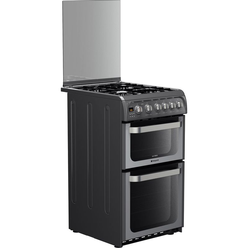 Hotpoint-Double-Cooker-HUG52G-Graphite-A--Enamelled-Sheetmetal-Perspective