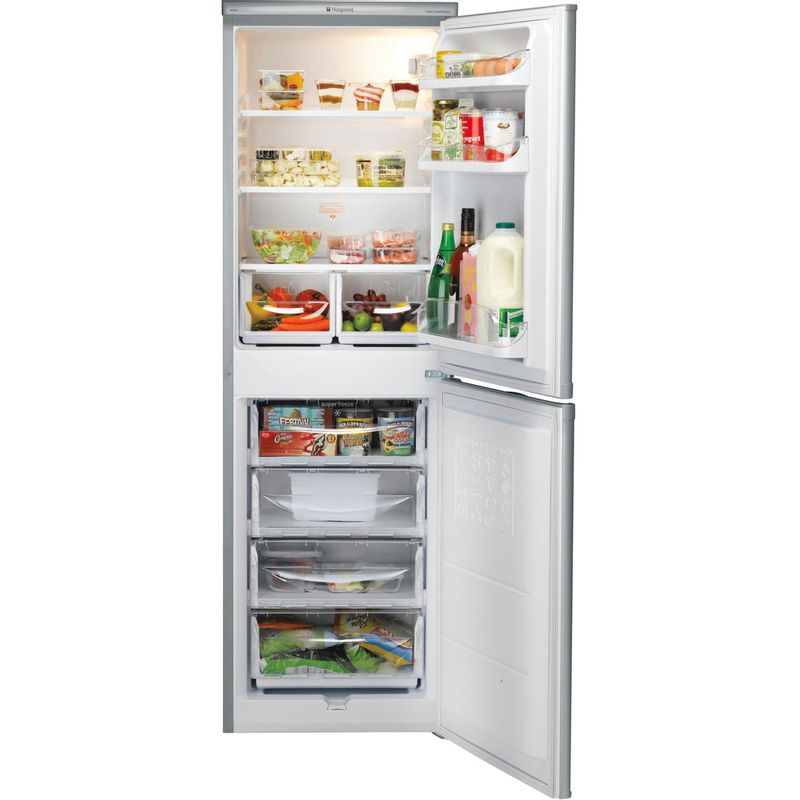 Hotpoint-Fridge-Freezer-Free-standing-RFAA52S-Silver-2-doors-Frontal_Open