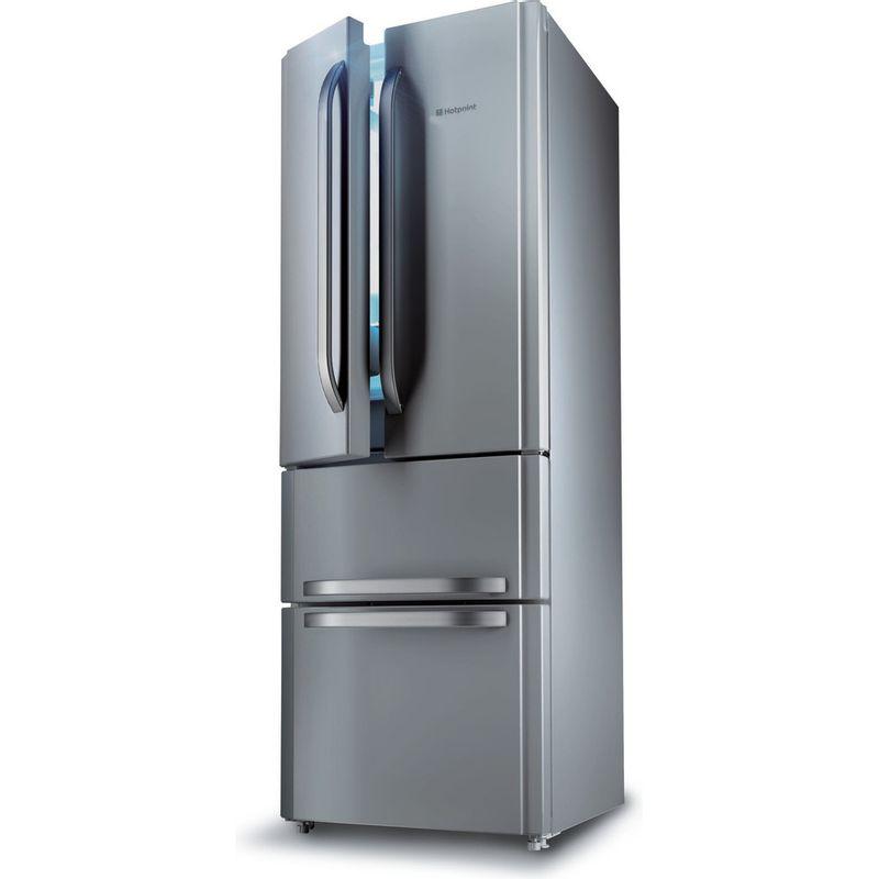 Hotpoint-Fridge-Freezer-Free-standing-FFU4D-X-Inox-2-doors-Perspective