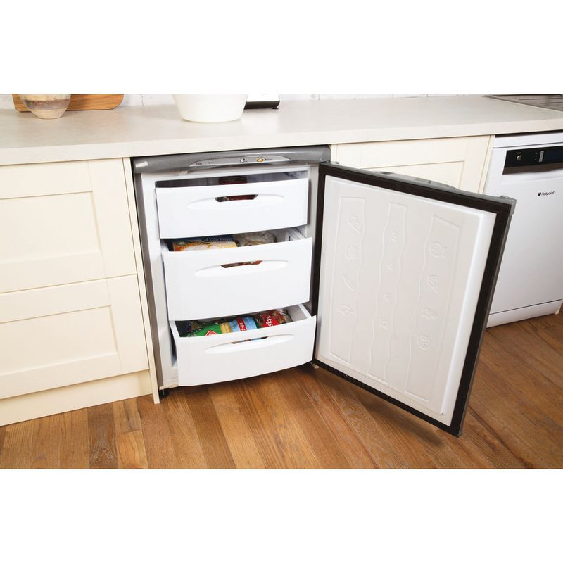 Hotpoint-Freezer-Free-standing-FZA36G-Graphite-Lifestyle-perspective-open