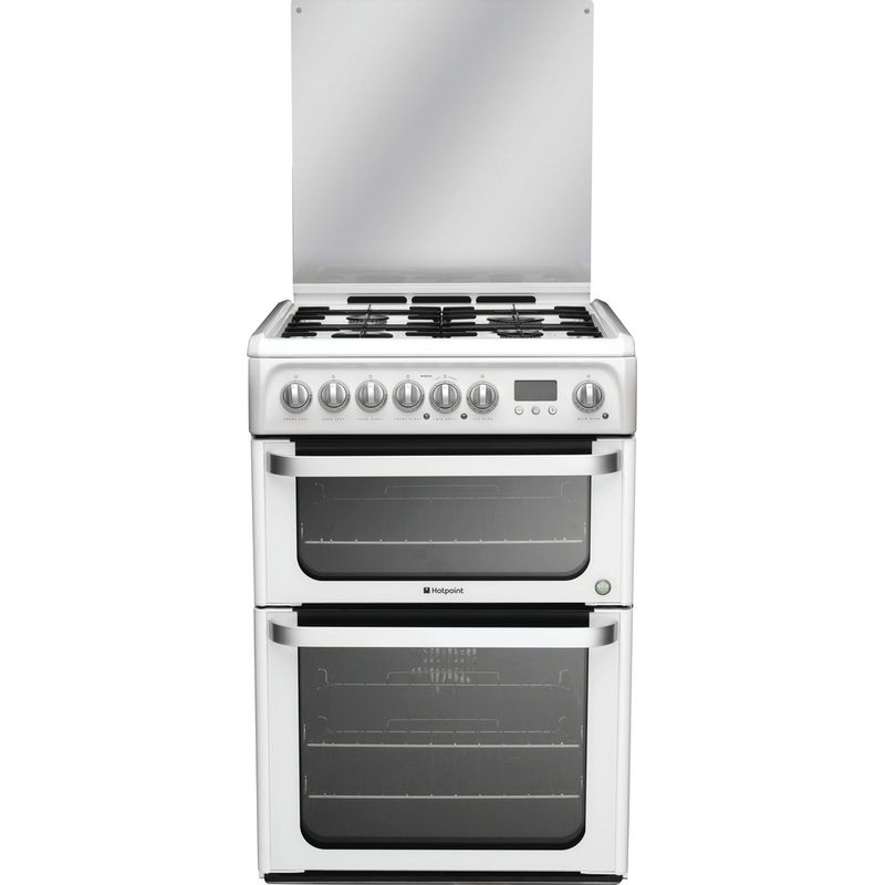 Hotpoint-Double-Cooker-HUD61P-S-White-A-Enamelled-Sheetmetal-Frontal