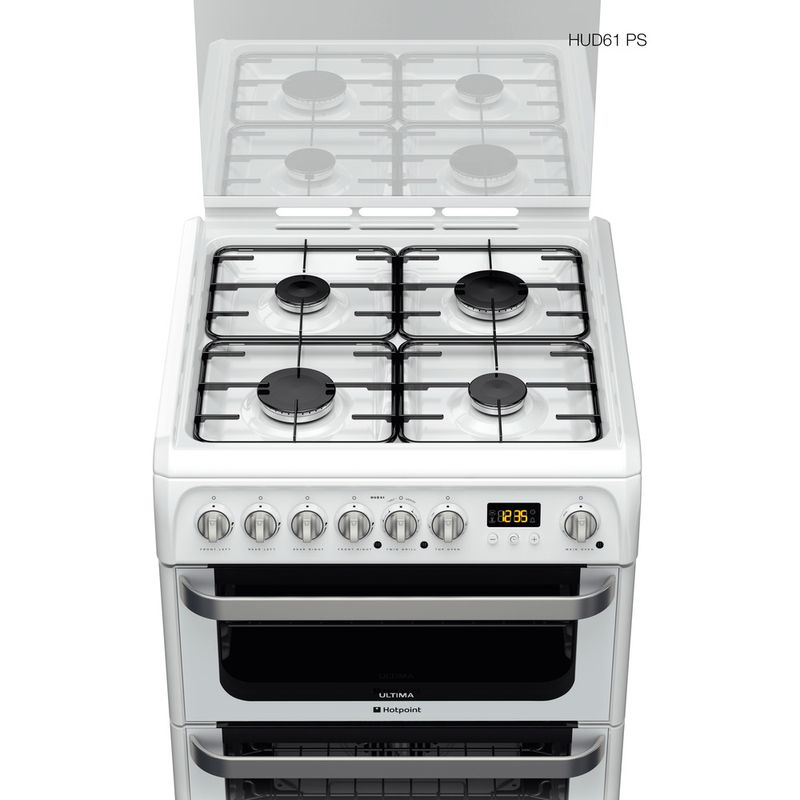 Hotpoint-Double-Cooker-HUD61P-S-White-A-Enamelled-Sheetmetal-Frontal-top-down