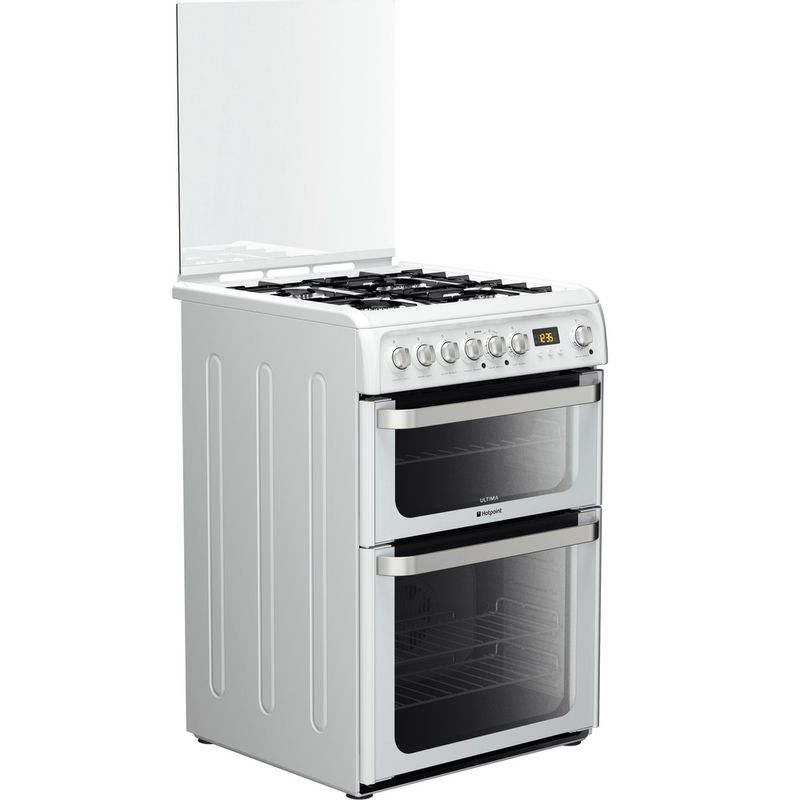 Hotpoint-Double-Cooker-HUD61P-S-White-A-Enamelled-Sheetmetal-Perspective