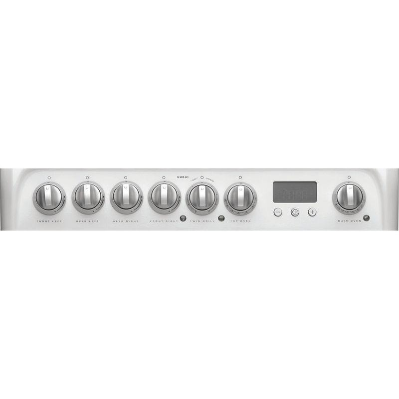 Hotpoint-Double-Cooker-HUD61P-S-White-A-Enamelled-Sheetmetal-Control-panel
