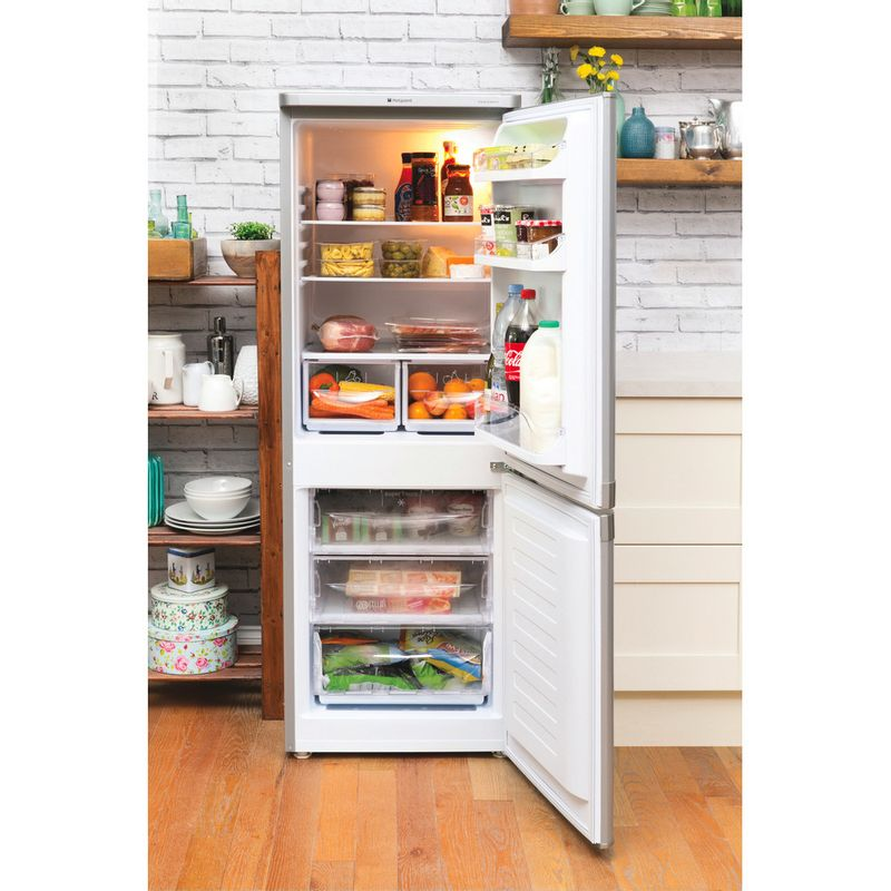 Hotpoint-Fridge-Freezer-Free-standing-NRFAA50S-Silver-2-doors-Lifestyle_Frontal_Open