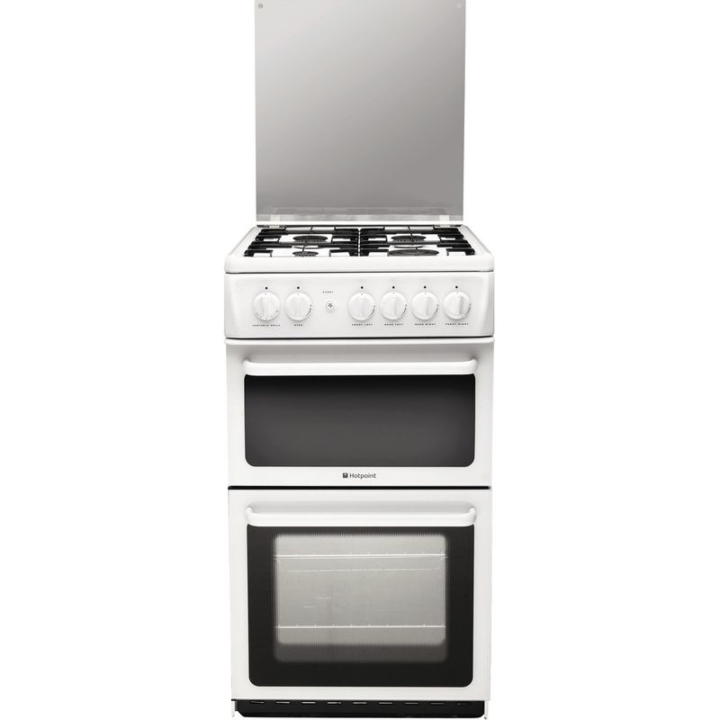 Hotpoint-Double-Cooker-HAGL51P-White-A--Enamelled-Sheetmetal-Frontal