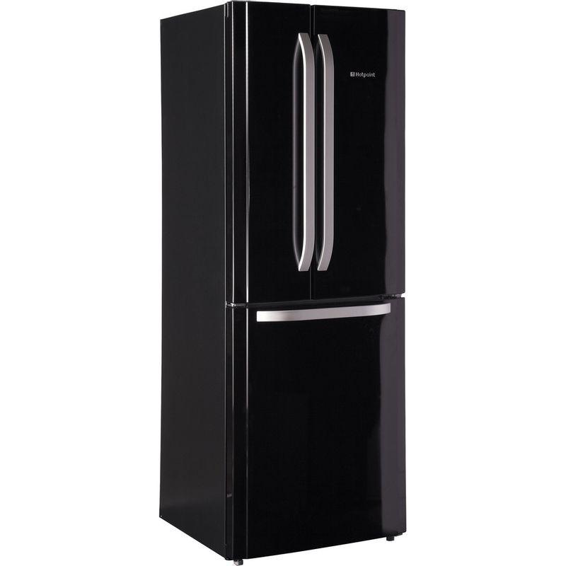 Hotpoint-Fridge-Freezer-Free-standing-FFU3DG-K-Black-2-doors-Perspective