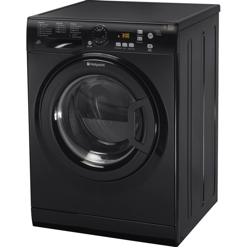 Hotpoint-Washing-machine-Free-standing-WMXTF-742K-UK-Black-Front-loader-A---Perspective
