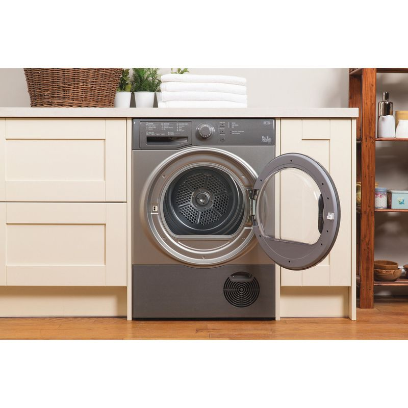 Hotpoint-Dryer-TCFS-83B-GG--UK--Graphite-Lifestyle_Frontal_Open