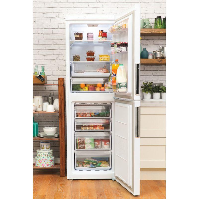 Hotpoint-Fridge-Freezer-Free-standing-LEX85-N1-W-White-2-doors-Lifestyle-frontal-open