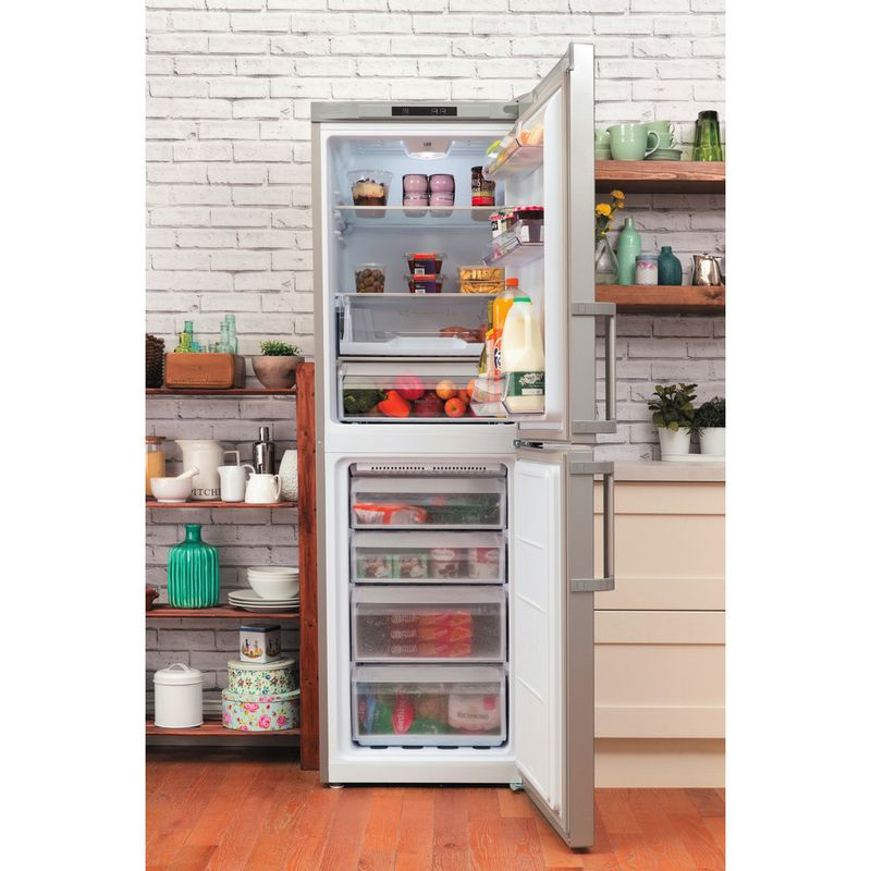 Hotpoint-Fridge-Freezer-Free-standing-LAG85-N1I-GH-Graphite-2-doors-Lifestyle-frontal-open