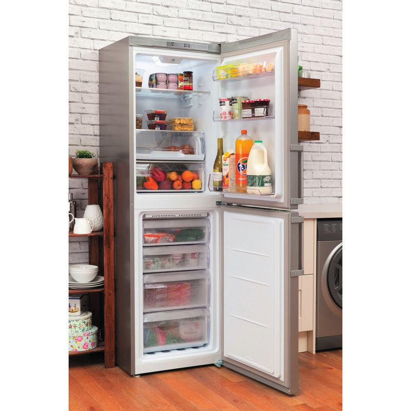 Hotpoint-Fridge-Freezer-Free-standing-LAG85-N1I-GH-Graphite-2-doors-Lifestyle-perspective-open