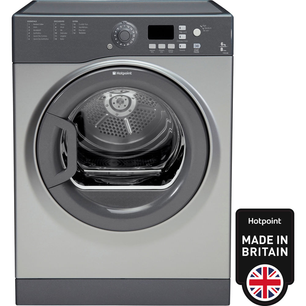 Hotpoint Freestanding tumble dryer FTVFG 65B GG (UK) : discover the specifications of our home appliances and bring the innovation into your house and family.