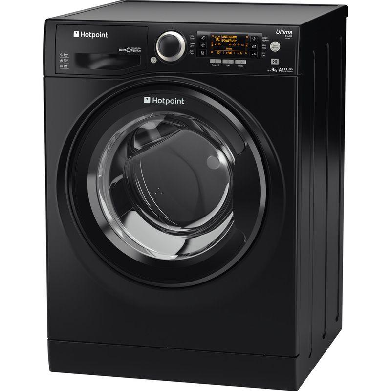 Hotpoint-Washing-machine-Free-standing-RPD-9467-JKK-UK-Black-Front-loader-A----Perspective
