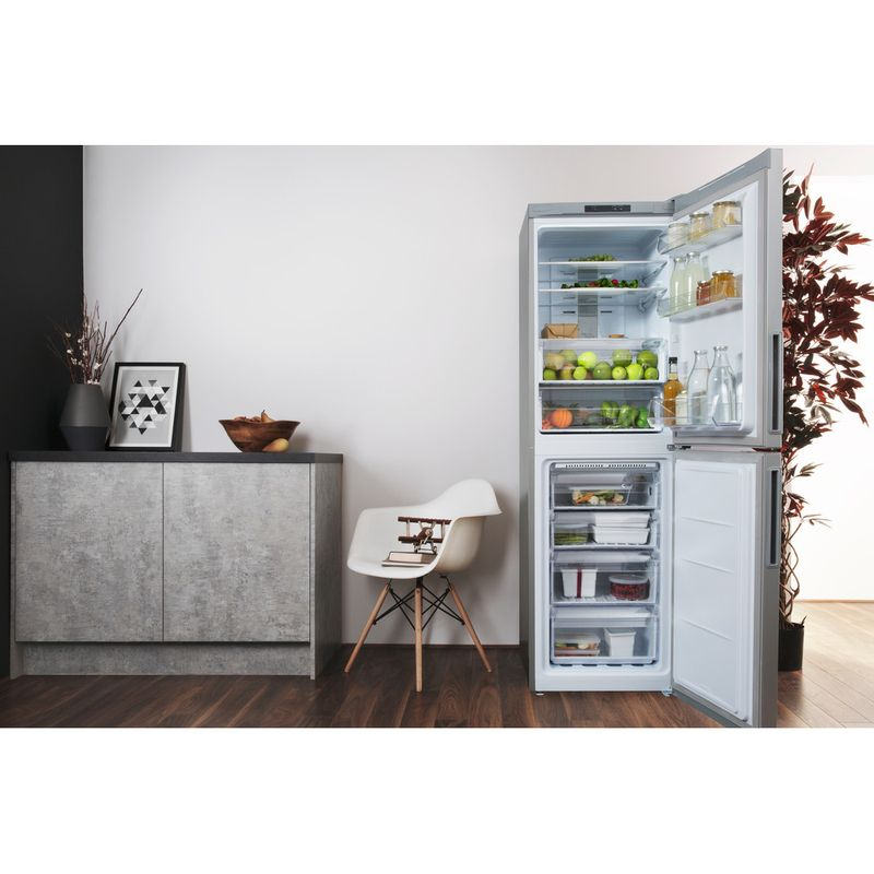 Hotpoint-Fridge-Freezer-Free-standing-XAO85-T1I-G-Graphite-2-doors-Lifestyle-frontal-open