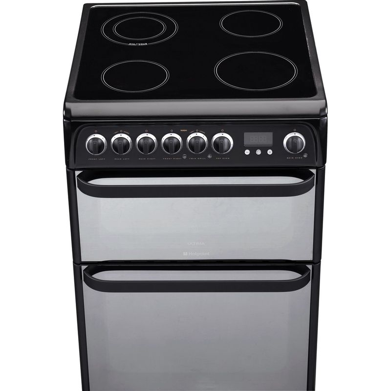 Hotpoint-Double-Cooker-DUE61BC-Charcoal-grey-A-Vitroceramic-Frontal-top-down