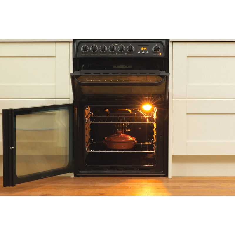 Hotpoint-Double-Cooker-DUE61BC-Charcoal-grey-A-Vitroceramic-Lifestyle-frontal-open