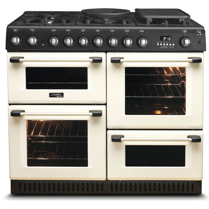 Hotpoint-Double-Cooker-CH10755GF-S-Crema-A--Enamelled-Sheetmetal-Frontal