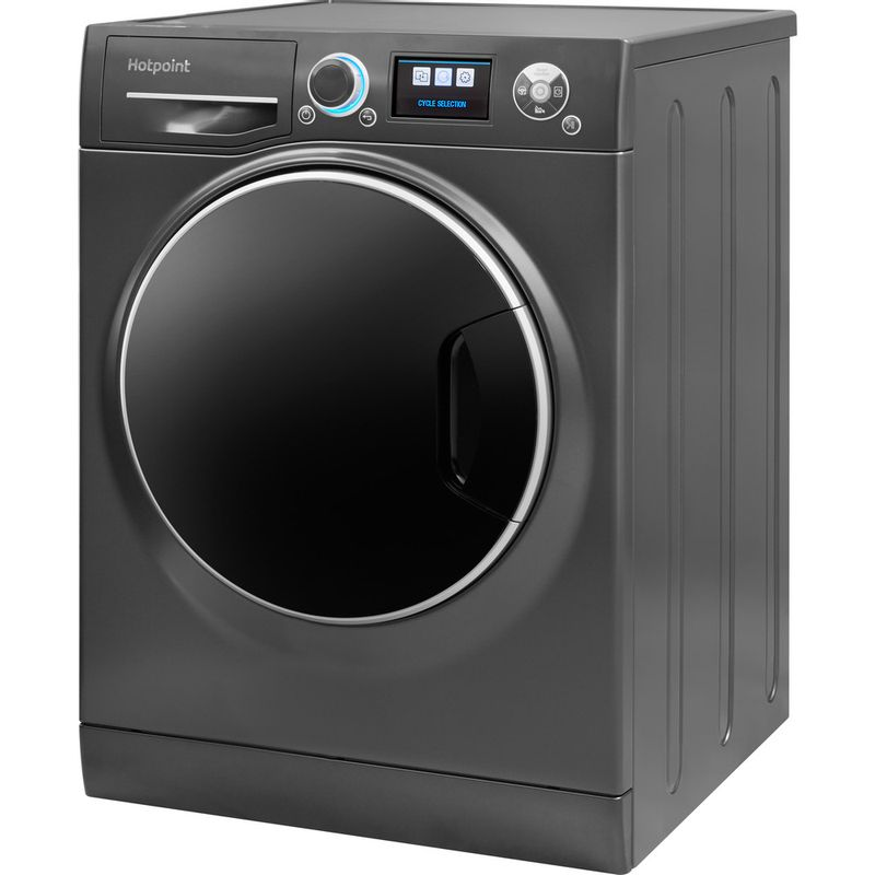Hotpoint-Washing-machine-Free-standing-RZ-1066-B-UK-Black-Front-loader-A----Perspective