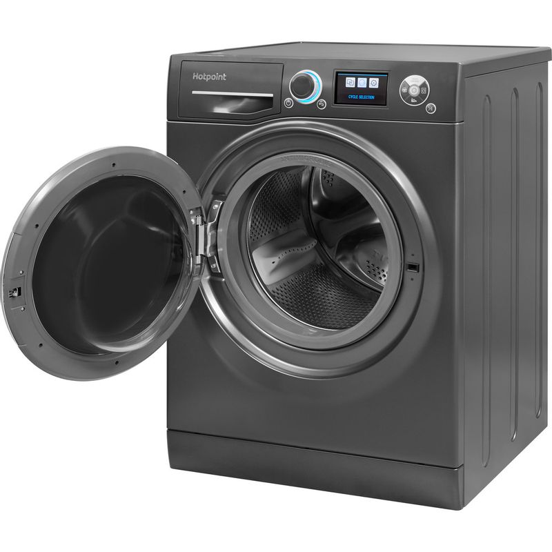 Hotpoint-Washing-machine-Free-standing-RZ-1066-B-UK-Black-Front-loader-A----Perspective_Open