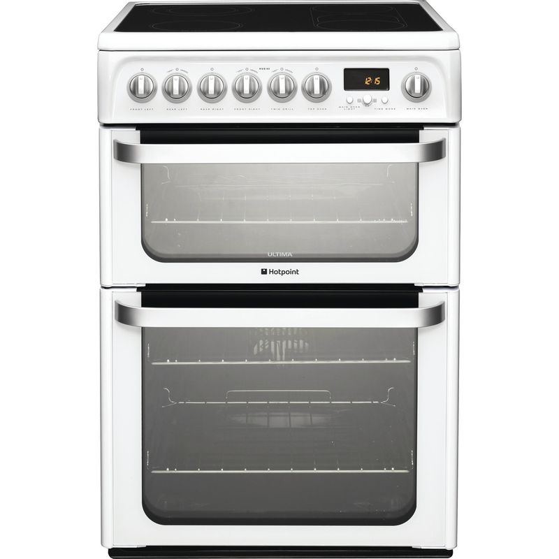 Hotpoint-Double-Cooker-HUE62P-S-White-A-Vitroceramic-Frontal