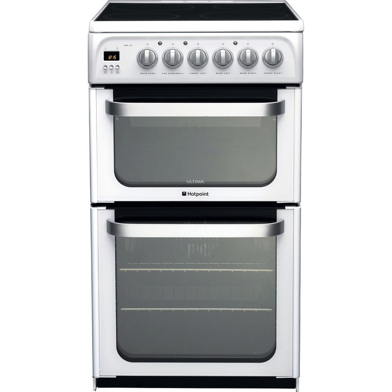 Hotpoint-Double-Cooker-HUE52P-S-White-A-Vitroceramic-Frontal