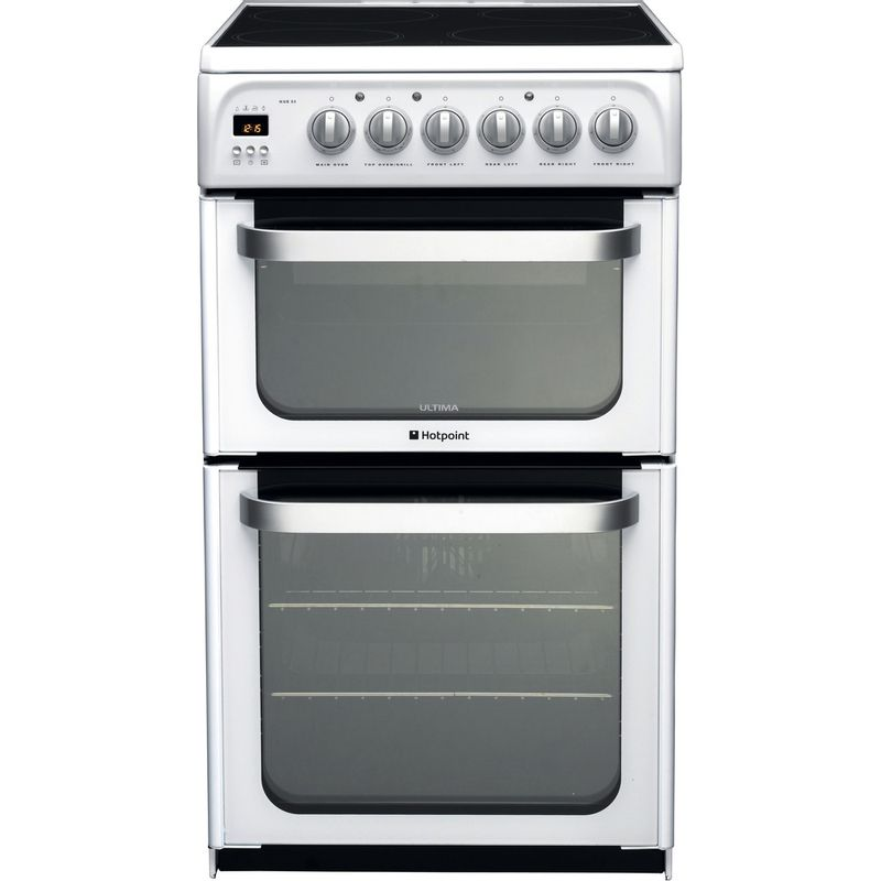 Hotpoint-Double-Cooker-HUE53P-S-White-A-Vitroceramic-Frontal
