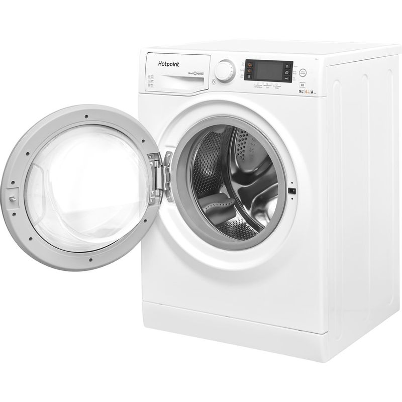 Hotpoint-Washer-dryer-Free-standing-RD-966-JD-UK-White-Front-loader-Perspective-open