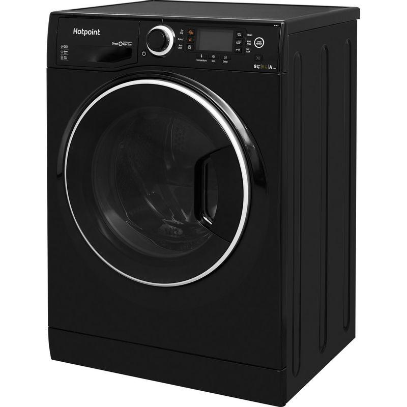 Hotpoint-Washer-dryer-Free-standing-RD-966-JKD-UK-Black-Front-loader-Perspective