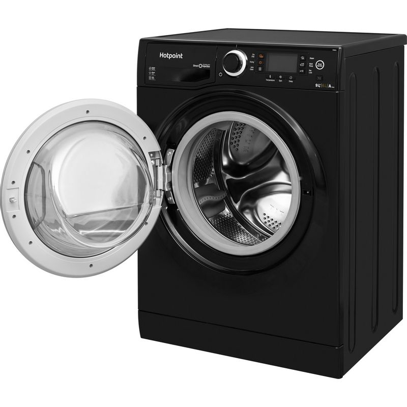 Hotpoint-Washer-dryer-Free-standing-RD-966-JKD-UK-Black-Front-loader-Perspective_Open