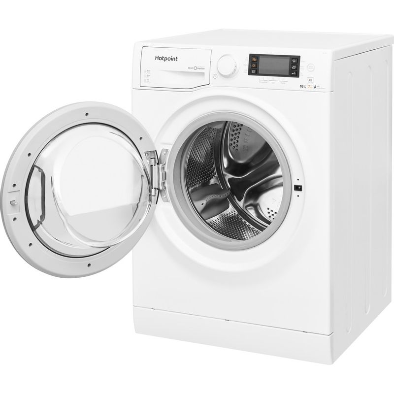 Hotpoint-Washer-dryer-Free-standing-RD-1076-JD-UK-White-Front-loader-Perspective-open