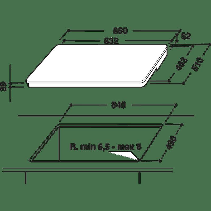 Hotpoint-HOB-CIF-952-BXLD-B-Black-Induction-vitroceramic-Technical-drawing