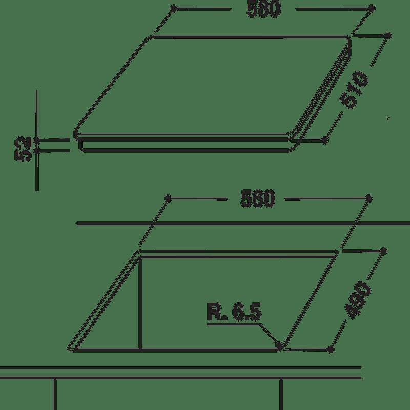 Hotpoint-HOB-CIS-641-F-B-Black-Induction-vitroceramic-Technical-drawing