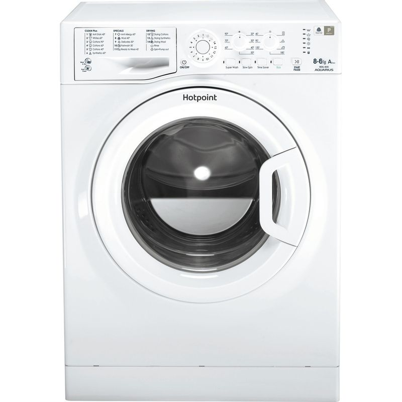 Hotpoint-Washer-dryer-Free-standing-WDAL-8640P-UK-White-Front-loader-Frontal