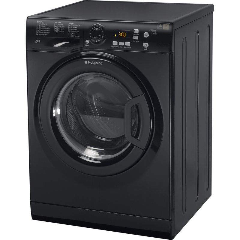 Hotpoint-Washing-machine-Free-standing-WMXTF-942K-UK.R-Black-Front-loader-A---Perspective