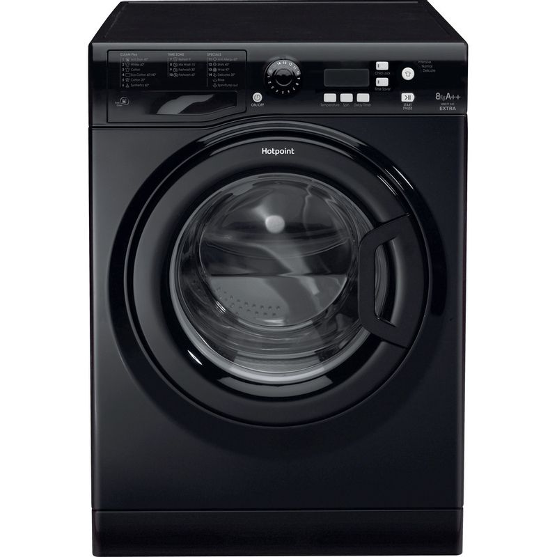Hotpoint-Washing-machine-Free-standing-WMXTF-842K-UK.R-Black-Front-loader-A---Frontal